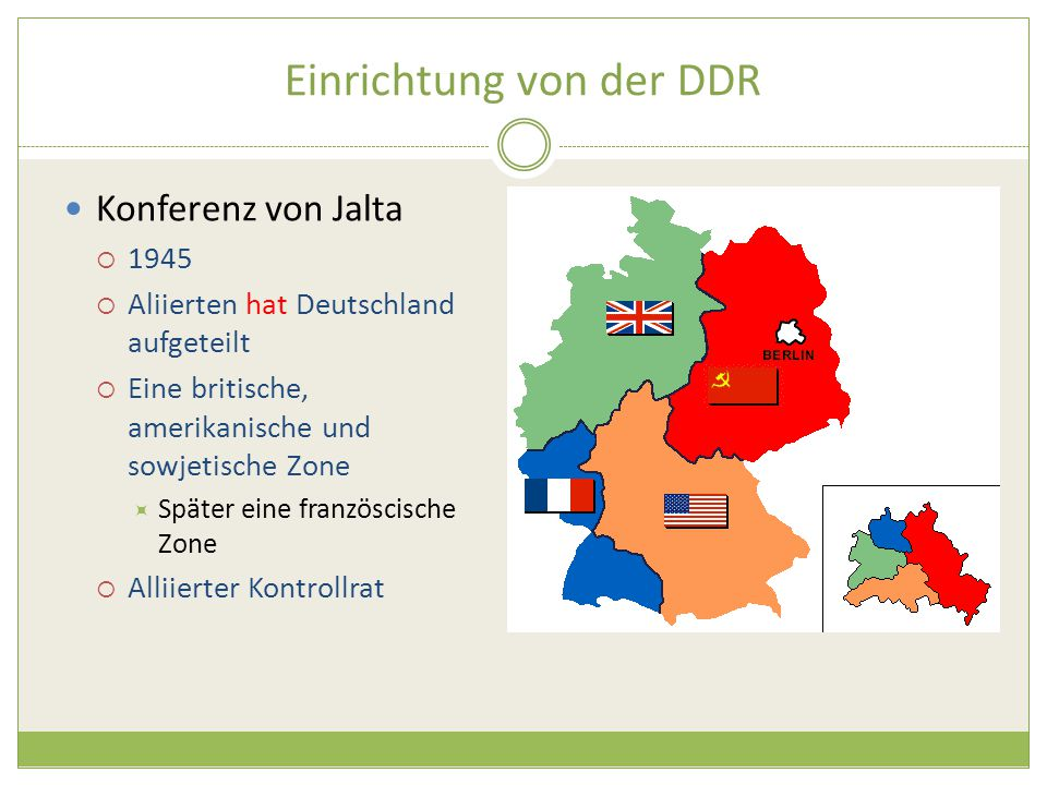Einrichtung von der DDR Konferenz von Jalta  1945  Aliierten hat Deutschland aufgeteilt  Eine britische, amerikanische und sowjetische Zone  Später eine französcische Zone  Alliierter Kontrollrat