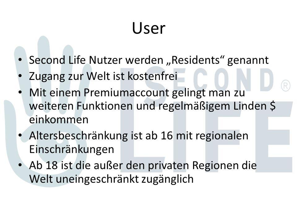 """User Second Life Nutzer werden """"Residents genannt Zugang zur Welt ist kostenfrei Mit einem Premiumaccount gelingt man zu weiteren Funktionen und regelmäßigem Linden $ einkommen Altersbeschränkung ist ab 16 mit regionalen Einschränkungen Ab 18 ist die außer den privaten Regionen die Welt uneingeschränkt zugänglich"""