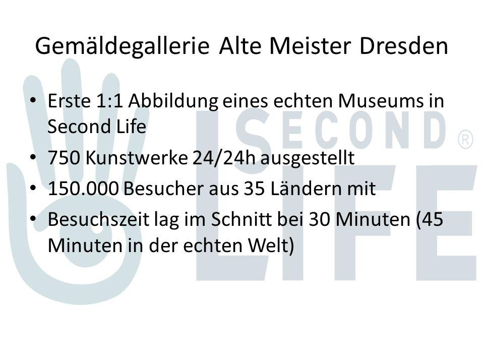 Gemäldegallerie Alte Meister Dresden Erste 1:1 Abbildung eines echten Museums in Second Life 750 Kunstwerke 24/24h ausgestellt 150.000 Besucher aus 35 Ländern mit Besuchszeit lag im Schnitt bei 30 Minuten (45 Minuten in der echten Welt)