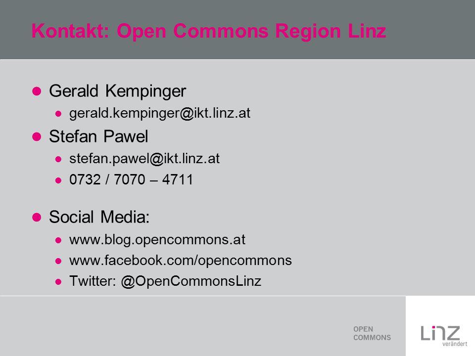 Kontakt: Open Commons Region Linz Gerald Kempinger gerald.kempinger@ikt.linz.at Stefan Pawel stefan.pawel@ikt.linz.at 0732 / 7070 – 4711 Social Media: www.blog.opencommons.at www.facebook.com/opencommons Twitter: @OpenCommonsLinz