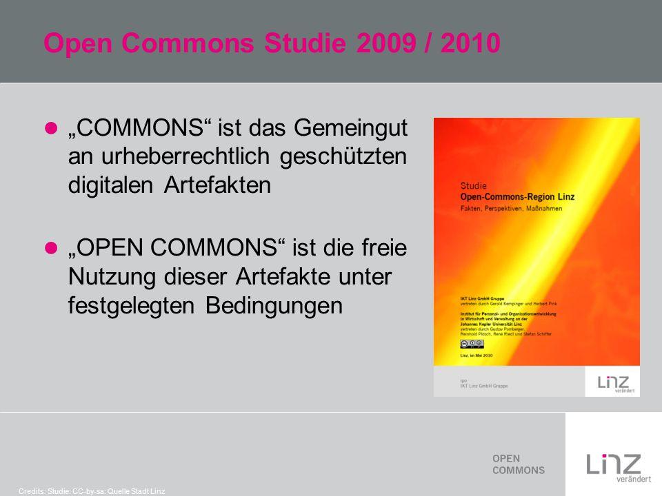 """Open Commons Studie 2009 / 2010 """"COMMONS ist das Gemeingut an urheberrechtlich geschützten digitalen Artefakten """"OPEN COMMONS ist die freie Nutzung dieser Artefakte unter festgelegten Bedingungen Credits: Studie: CC-by-sa: Quelle Stadt Linz"""