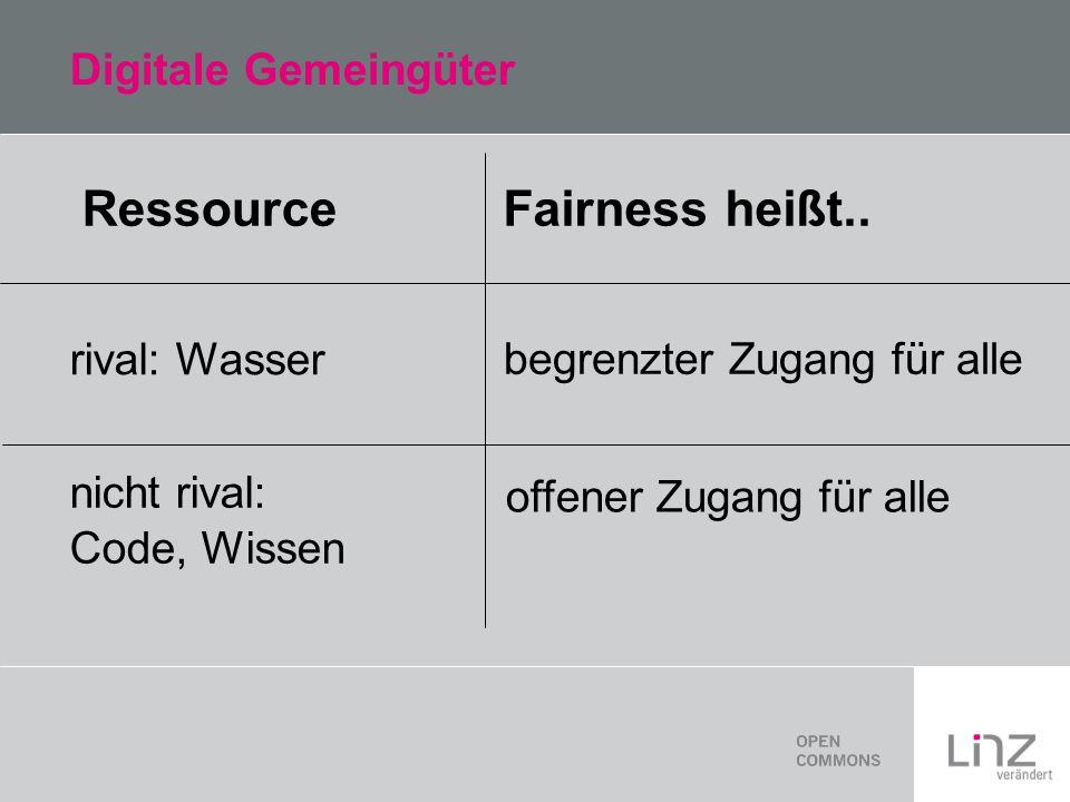 Digitale Gemeingüter Ressource rival: Wasser nicht rival: Code, Wissen Fairness heißt..