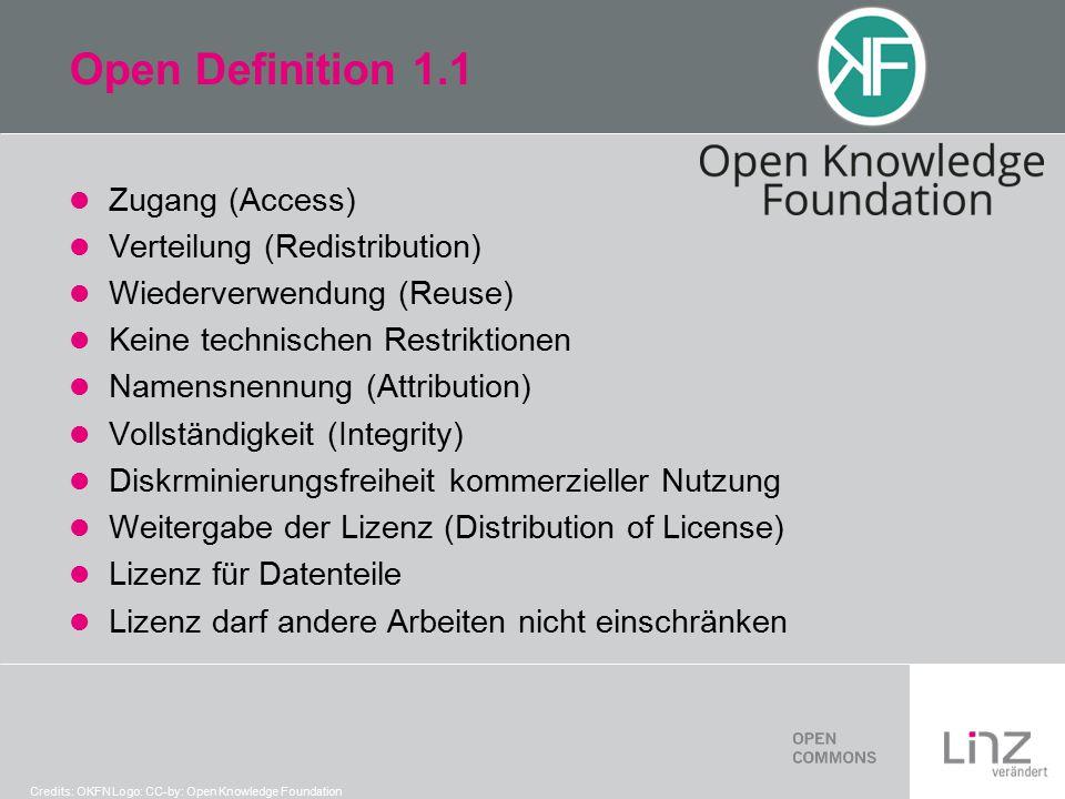 Open Definition 1.1 Zugang (Access) Verteilung (Redistribution) Wiederverwendung (Reuse) Keine technischen Restriktionen Namensnennung (Attribution) Vollständigkeit (Integrity) Diskrminierungsfreiheit kommerzieller Nutzung Weitergabe der Lizenz (Distribution of License) Lizenz für Datenteile Lizenz darf andere Arbeiten nicht einschränken Credits: OKFN Logo: CC-by: Open Knowledge Foundation
