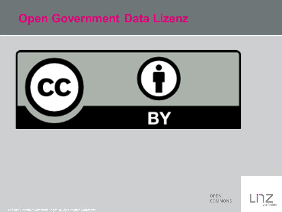 Open Government Data Lizenz Credits: Creattive Commons Logo: CC-by: Creative Commons