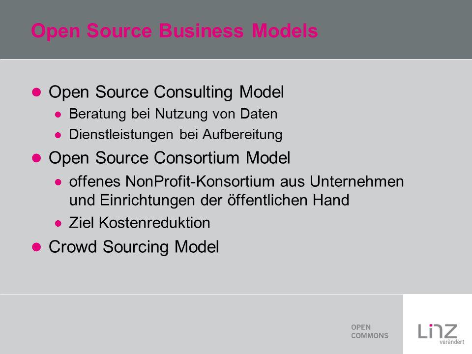 Open Source Business Models Open Source Consulting Model Beratung bei Nutzung von Daten Dienstleistungen bei Aufbereitung Open Source Consortium Model offenes NonProfit-Konsortium aus Unternehmen und Einrichtungen der öffentlichen Hand Ziel Kostenreduktion Crowd Sourcing Model