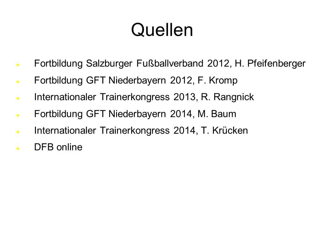 Quellen Fortbildung Salzburger Fußballverband 2012, H. Pfeifenberger Fortbildung GFT Niederbayern 2012, F. Kromp Internationaler Trainerkongress 2013,