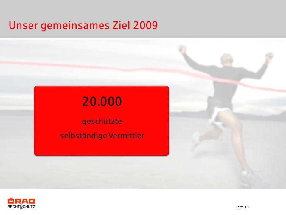Seite 19 Unser gemeinsames Ziel 2009 20.000 geschützte selbständige Vermittler