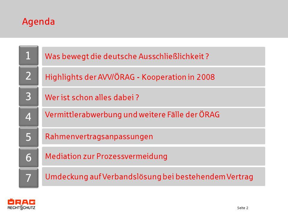 Seite 2 Agenda Was bewegt die deutsche Ausschließlichkeit ? Rahmenvertragsanpassungen Highlights der AVV/ÖRAG - Kooperation in 2008 Mediation zur Proz