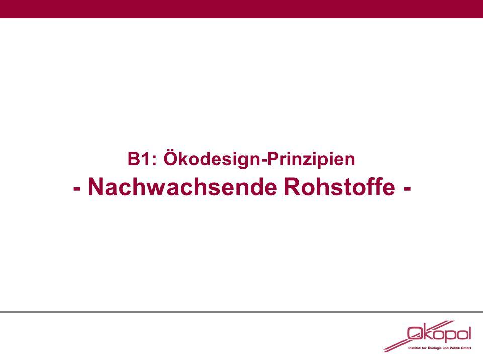 B1: Ökodesign-Prinzipien - Nachwachsende Rohstoffe -