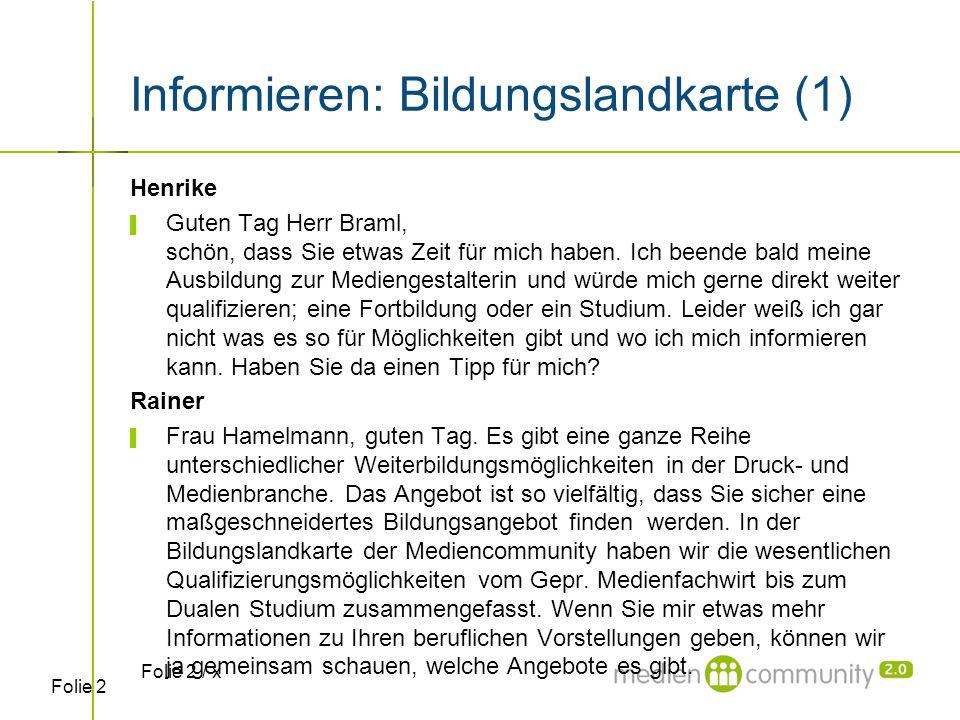 Folie 2 Informieren: Bildungslandkarte (1) Henrike ▌ Guten Tag Herr Braml, schön, dass Sie etwas Zeit für mich haben. Ich beende bald meine Ausbildung