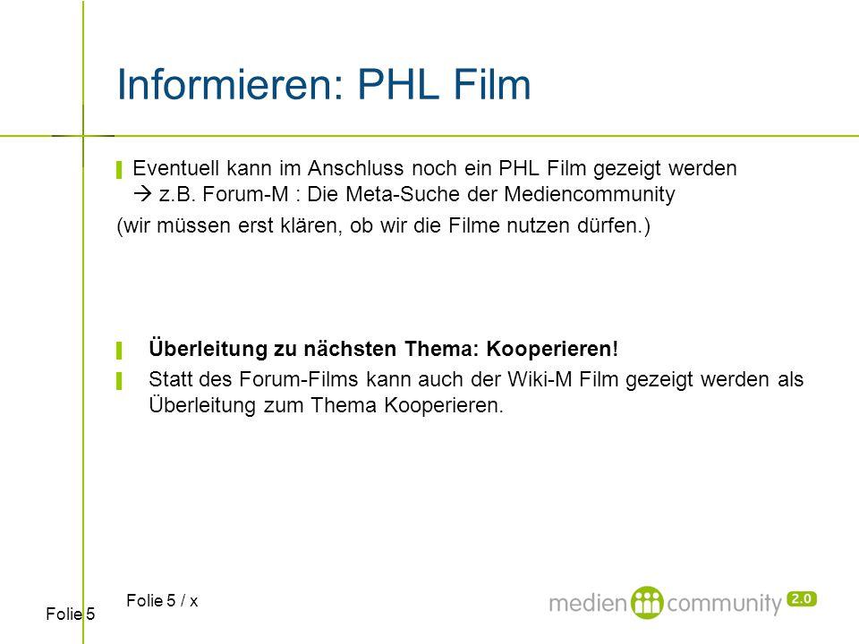 Folie 5 Informieren: PHL Film ▌ Eventuell kann im Anschluss noch ein PHL Film gezeigt werden  z.B. Forum-M : Die Meta-Suche der Mediencommunity (wir