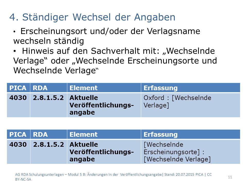 4. Ständiger Wechsel der Angaben AG RDA Schulungsunterlagen – Modul 5 B: Änderungen in der Veröffentlichungsangabe| Stand: 20.07.2015 PICA | CC BY-NC-