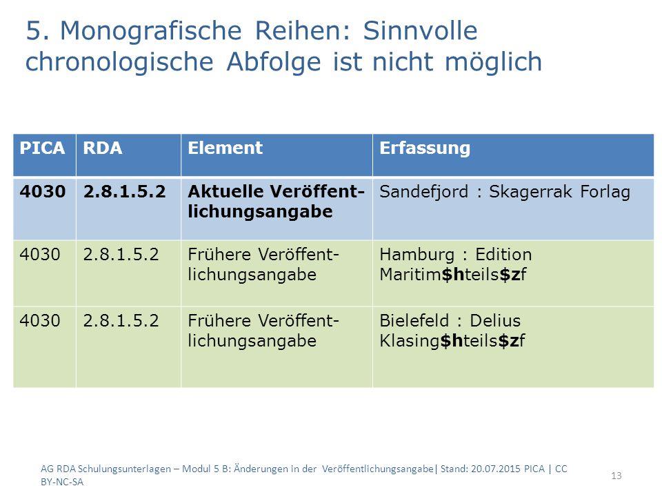 5. Monografische Reihen: Sinnvolle chronologische Abfolge ist nicht möglich AG RDA Schulungsunterlagen – Modul 5 B: Änderungen in der Veröffentlichung