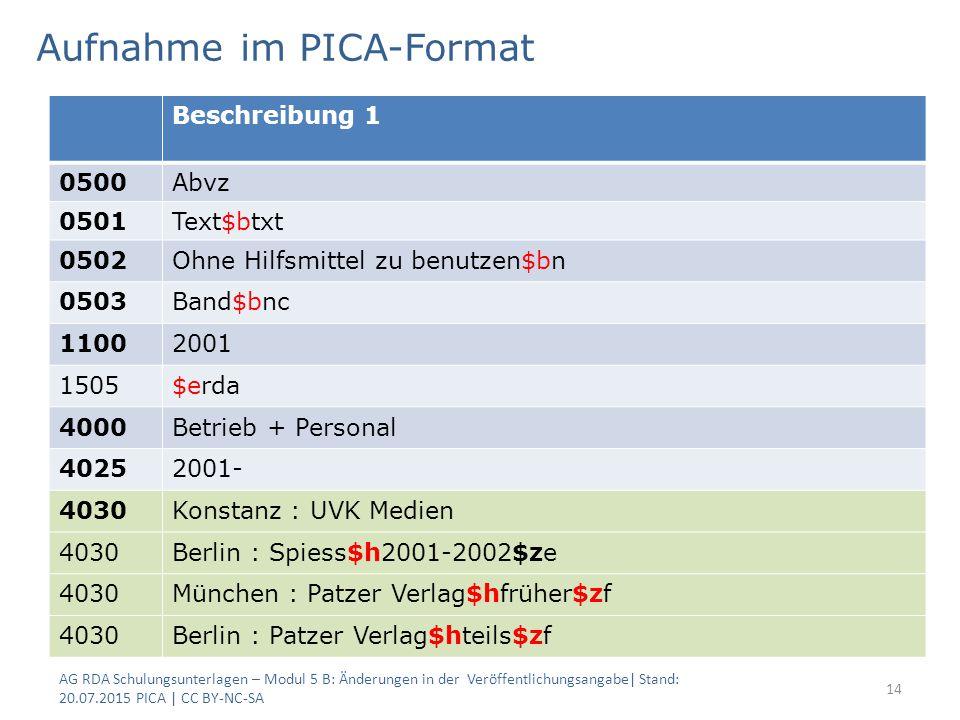 Aufnahme im PICA-Format AG RDA Schulungsunterlagen – Modul 5 B: Änderungen in der Veröffentlichungsangabe| Stand: 20.07.2015 PICA | CC BY-NC-SA 14 Bes