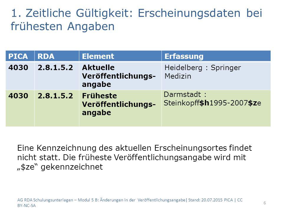 1. Zeitliche Gültigkeit: Erscheinungsdaten bei frühesten Angaben AG RDA Schulungsunterlagen – Modul 5 B: Änderungen in der Veröffentlichungsangabe| St