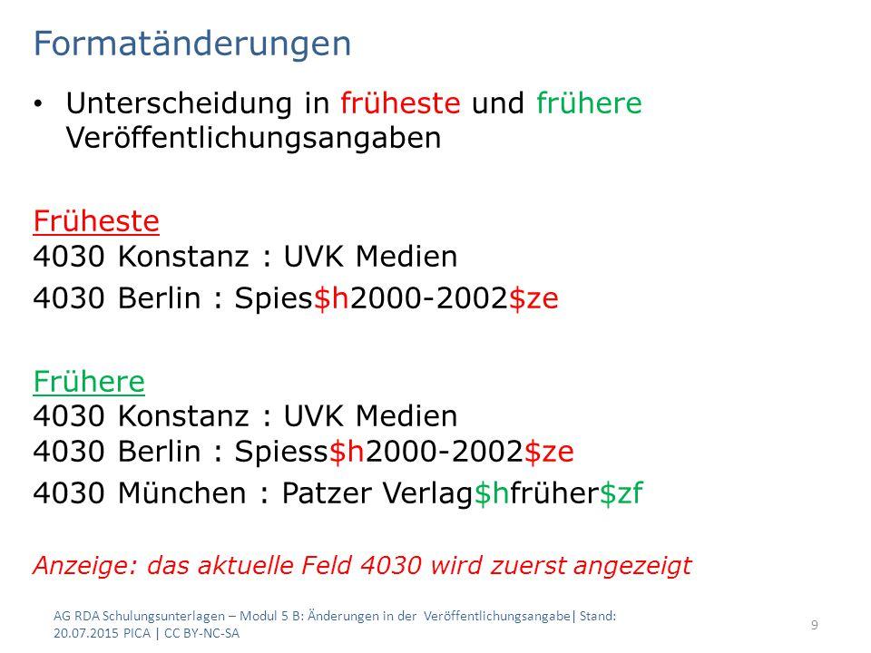 Formatänderungen Unterscheidung in früheste und frühere Veröffentlichungsangaben Früheste 4030 Konstanz : UVK Medien 4030 Berlin : Spies$h2000-2002$ze