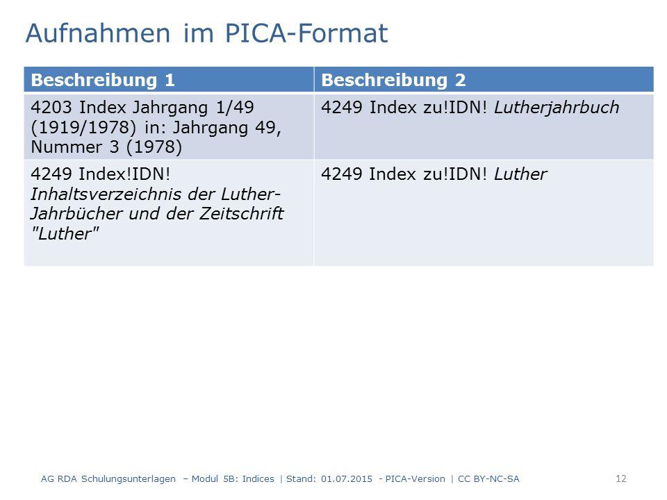 AG RDA Schulungsunterlagen – Modul 5B: Indices | Stand: 01.07.2015 - PICA-Version | CC BY-NC-SA 12 Aufnahmen im PICA-Format Beschreibung 1Beschreibung 2 4203 Index Jahrgang 1/49 (1919/1978) in: Jahrgang 49, Nummer 3 (1978) 4249 Index zu!IDN.