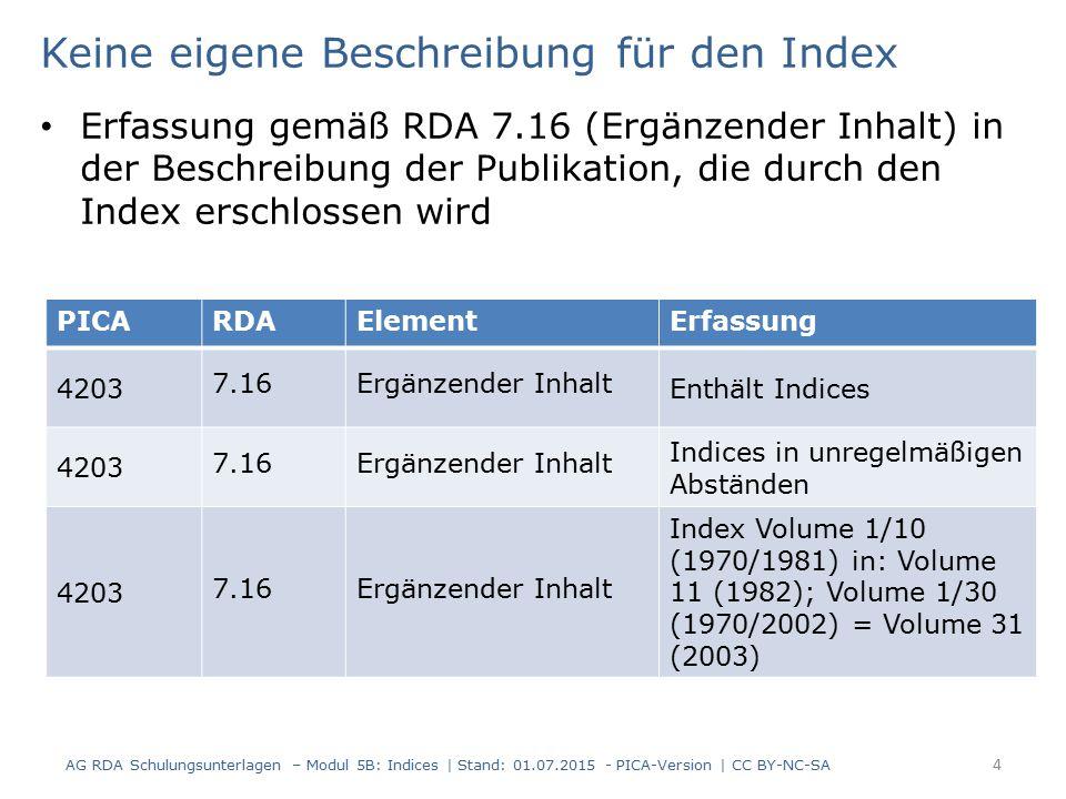Keine eigene Beschreibung für den Index Erfassung gemäß RDA 7.16 (Ergänzender Inhalt) in der Beschreibung der Publikation, die durch den Index erschlossen wird AG RDA Schulungsunterlagen – Modul 5B: Indices | Stand: 01.07.2015 - PICA-Version | CC BY-NC-SA 4 PICARDAElementErfassung 4203 7.16Ergänzender Inhalt Enthält Indices 4203 7.16Ergänzender Inhalt Indices in unregelmäßigen Abständen 4203 7.16Ergänzender Inhalt Index Volume 1/10 (1970/1981) in: Volume 11 (1982); Volume 1/30 (1970/2002) = Volume 31 (2003)