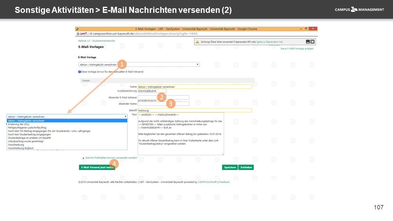 107 Sonstige Aktivitäten > E-Mail Nachrichten versenden (2) 1 2 3 4