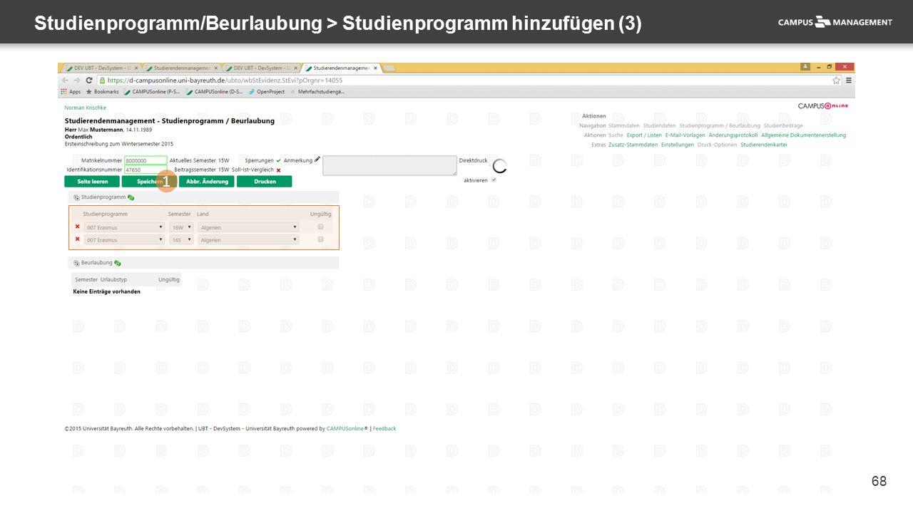 68 Studienprogramm/Beurlaubung > Studienprogramm hinzufügen (3) 1