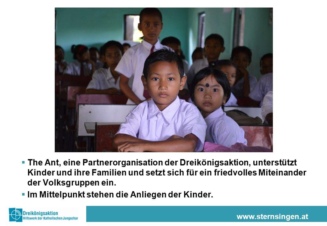 www.sternsingen.at  The Ant, eine Partnerorganisation der Dreikönigsaktion, unterstützt Kinder und ihre Familien und setzt sich für ein friedvolles M