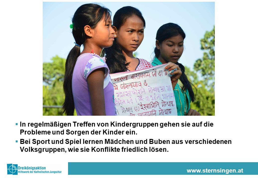 www.sternsingen.at  In regelmäßigen Treffen von Kindergruppen gehen sie auf die Probleme und Sorgen der Kinder ein.  Bei Sport und Spiel lernen Mädc