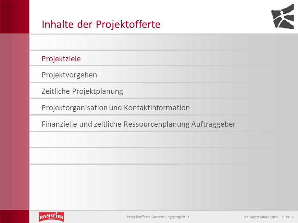 Projektofferte Anwendungsprojekt 1 23. September 2009 Slide 2 Inhalte der Projektofferte Projektziele Projektorganisation und Kontaktinformation Zeitl