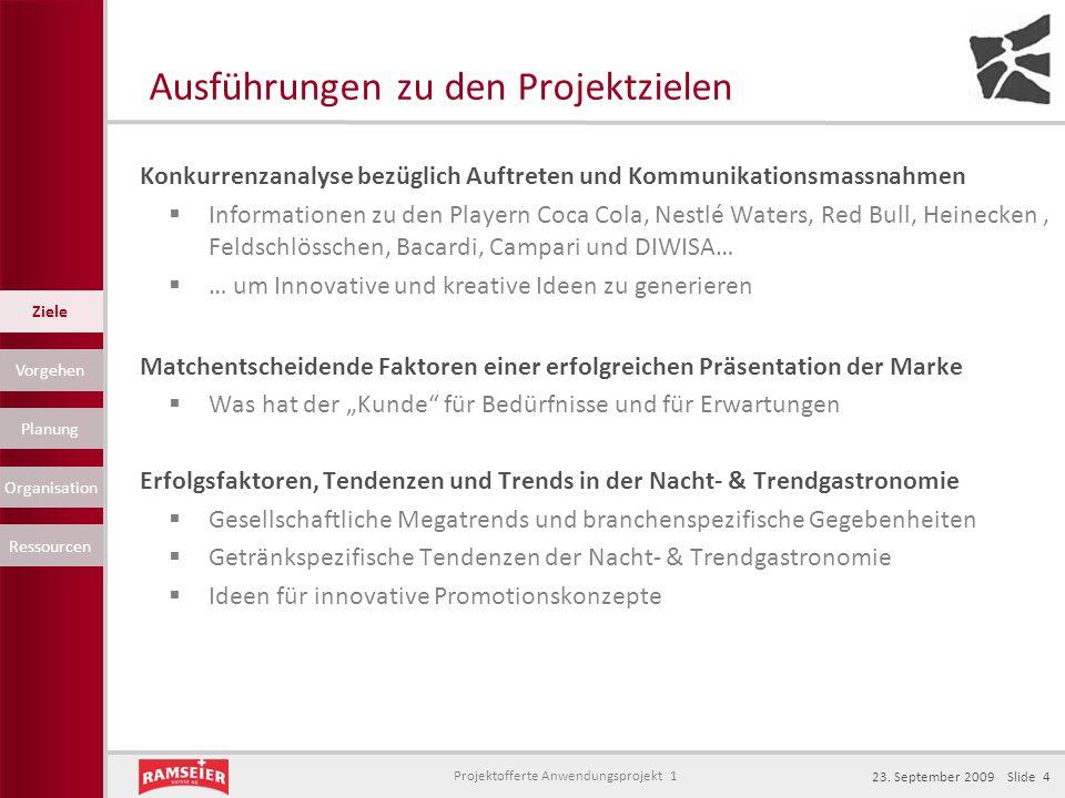 Projektofferte Anwendungsprojekt 1 23. September 2009 Slide 4 Ausführungen zu den Projektzielen Konkurrenzanalyse bezüglich Auftreten und Kommunikatio