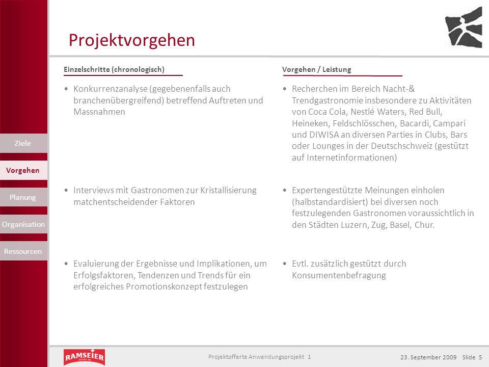 Projektofferte Anwendungsprojekt 1 23. September 2009 Slide 5 Projektvorgehen Einzelschritte (chronologisch)Vorgehen / Leistung Konkurrenzanalyse (geg