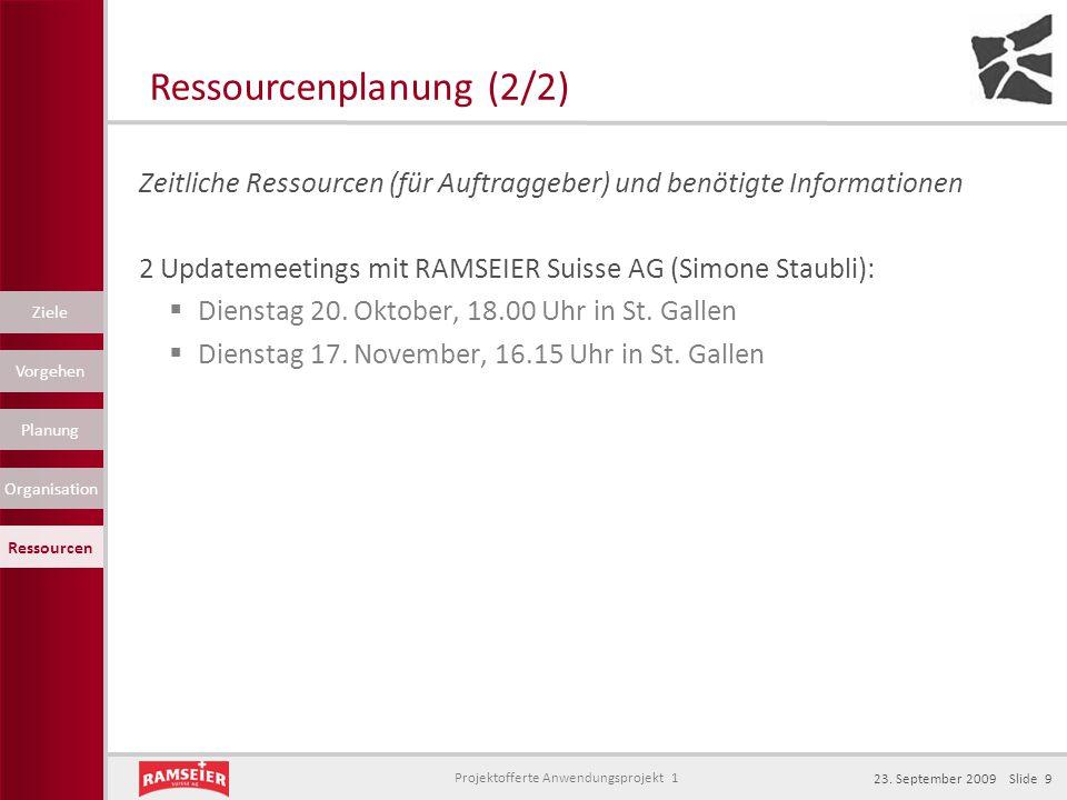 Projektofferte Anwendungsprojekt 1 23. September 2009 Slide 9 Zeitliche Ressourcen (für Auftraggeber) und benötigte Informationen 2 Updatemeetings mit