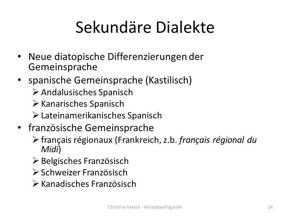 Sekundäre Dialekte Neue diatopische Differenzierungen der Gemeinsprache spanische Gemeinsprache (Kastilisch)  Andalusisches Spanisch  Kanarisches Sp