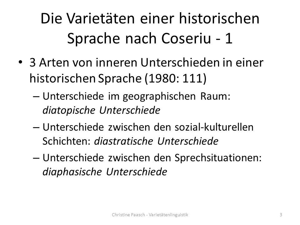 Bibliographie Coseriu, Eugenio (1980): Historische Sprache und Dialekt .
