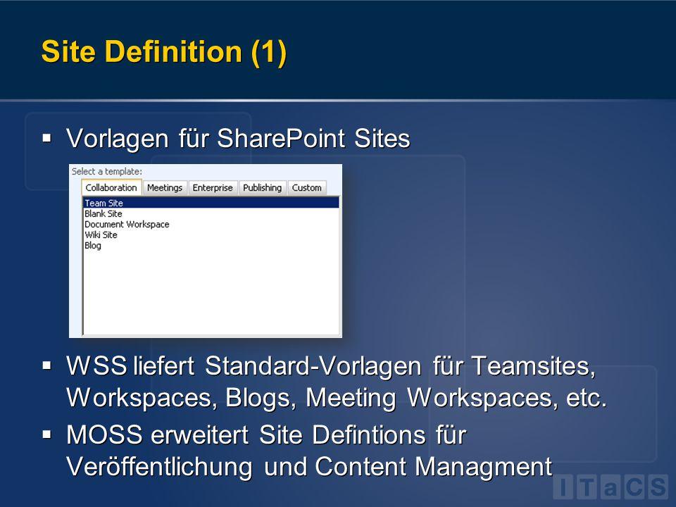 Site Definition (1)  Vorlagen für SharePoint Sites  WSS liefert Standard-Vorlagen für Teamsites, Workspaces, Blogs, Meeting Workspaces, etc.  MOSS