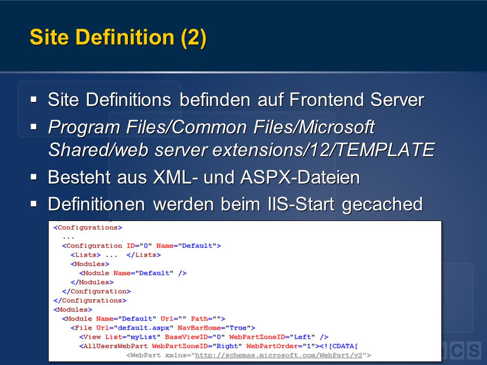 Site Definition (2)  Site Definitions befinden auf Frontend Server  Program Files/Common Files/Microsoft Shared/web server extensions/12/TEMPLATE 
