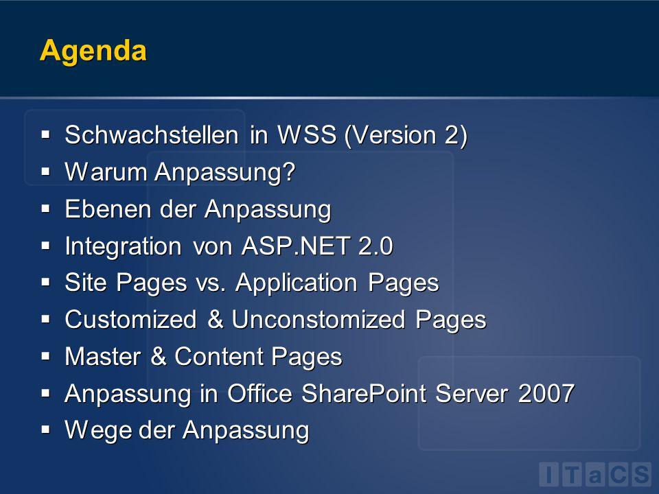 Agenda  Schwachstellen in WSS (Version 2)  Warum Anpassung?  Ebenen der Anpassung  Integration von ASP.NET 2.0  Site Pages vs. Application Pages
