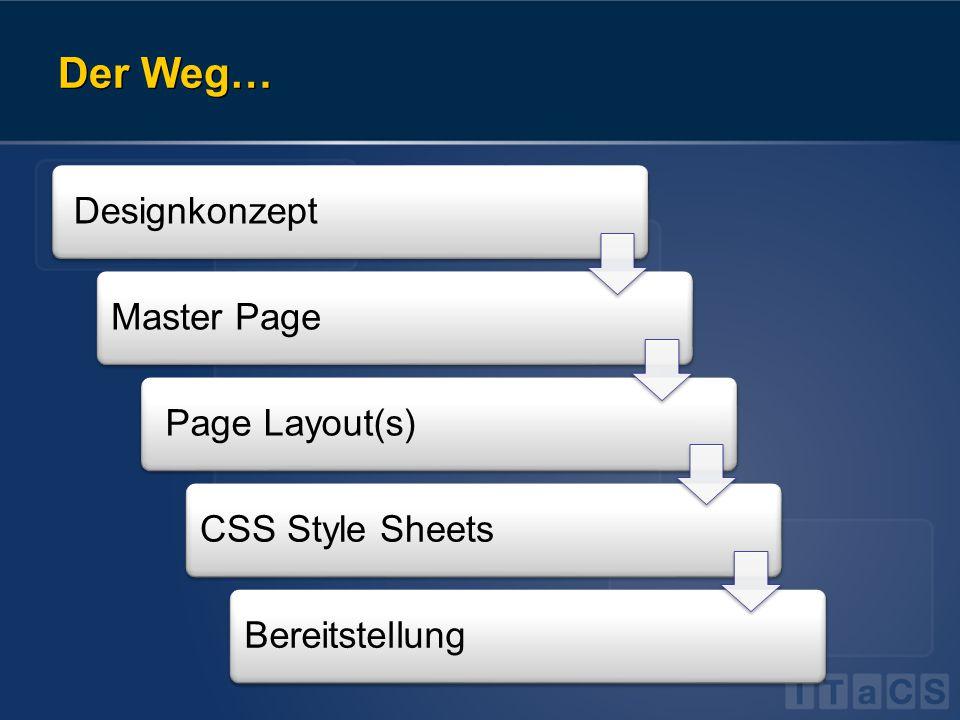 Der Weg… DesignkonzeptMaster Page Page Layout(s)CSS Style SheetsBereitstellung