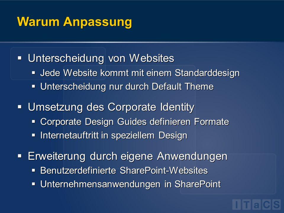 Warum Anpassung  Unterscheidung von Websites  Jede Website kommt mit einem Standarddesign  Unterscheidung nur durch Default Theme  Umsetzung des C