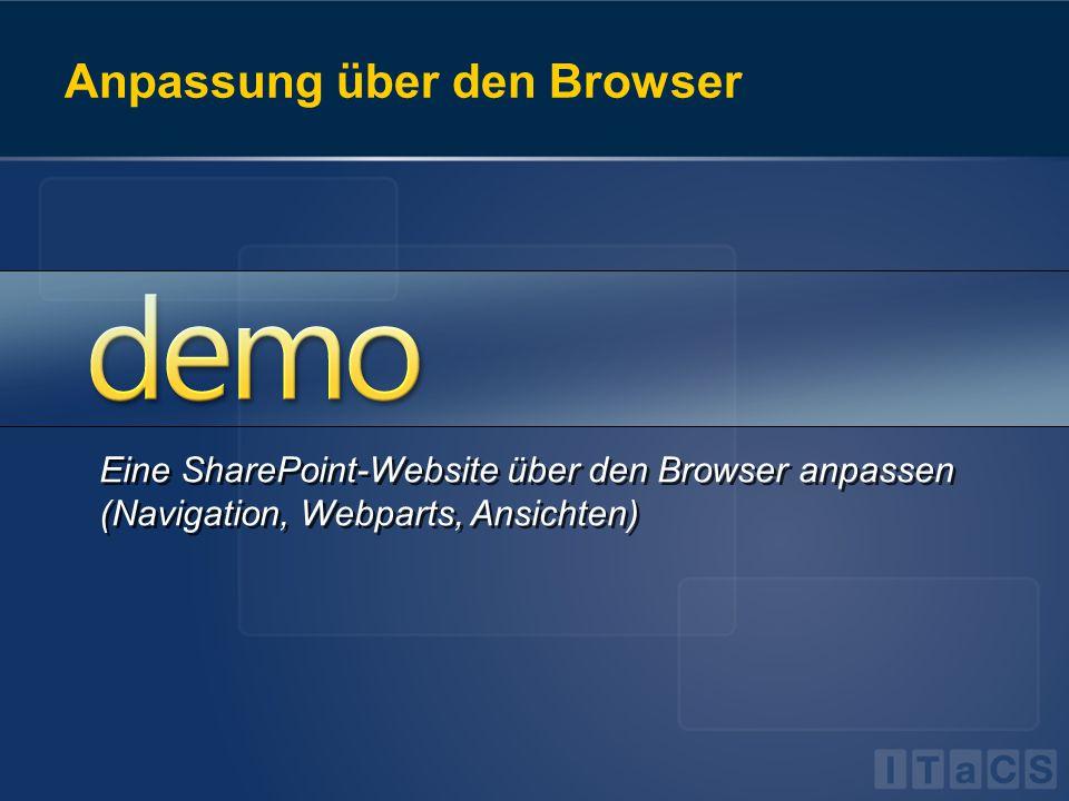 Anpassung über den Browser Eine SharePoint-Website über den Browser anpassen (Navigation, Webparts, Ansichten)