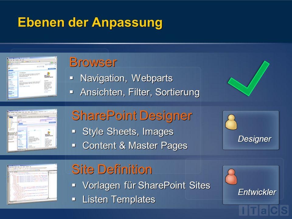 Rolle von ASP.NET Windows SharePoint Services V2 Windows SharePoint Services Version 2 Windows SharePoint Services Version 3 ASP.NET 1.1 ASP.NET 2.0 Windows SharePoint Services V3