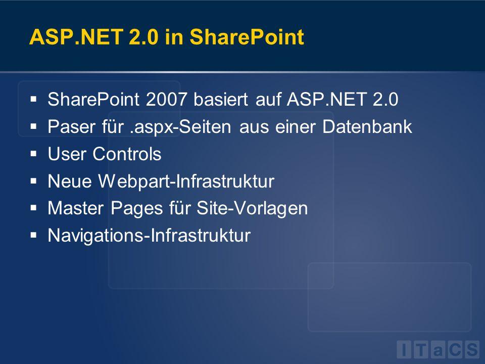 ASP.NET 2.0 in SharePoint  SharePoint 2007 basiert auf ASP.NET 2.0  Paser für.aspx-Seiten aus einer Datenbank  User Controls  Neue Webpart-Infrast