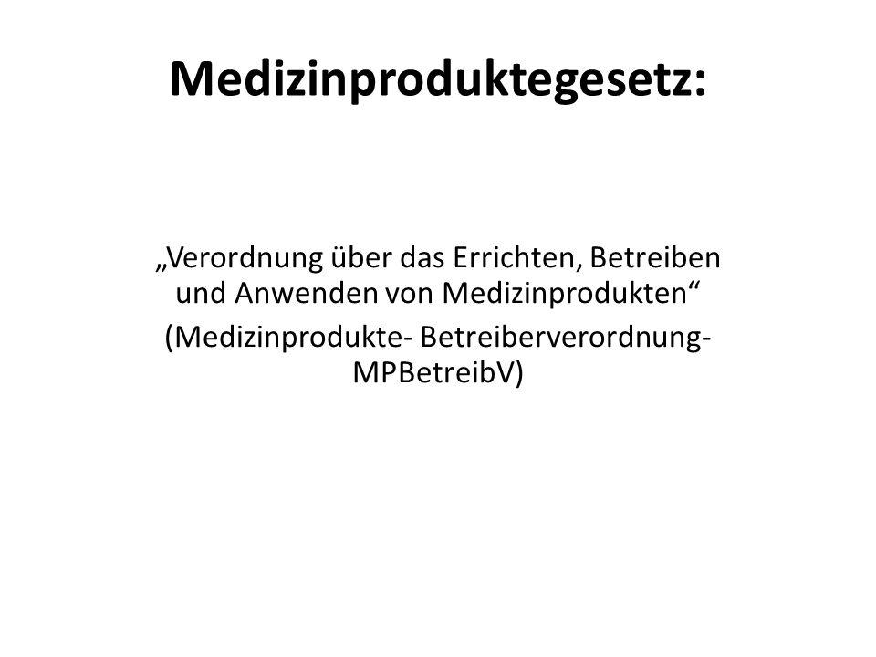 """Medizinproduktegesetz: """"Verordnung über das Errichten, Betreiben und Anwenden von Medizinprodukten (Medizinprodukte- Betreiberverordnung- MPBetreibV)"""