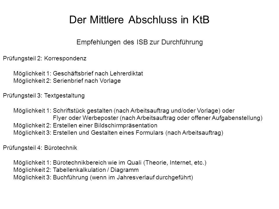 Der Mittlere Abschluss in KtB Empfehlungen des ISB zur Durchführung Prüfungsteil 2: Korrespondenz Möglichkeit 1: Geschäftsbrief nach Lehrerdiktat Mögl