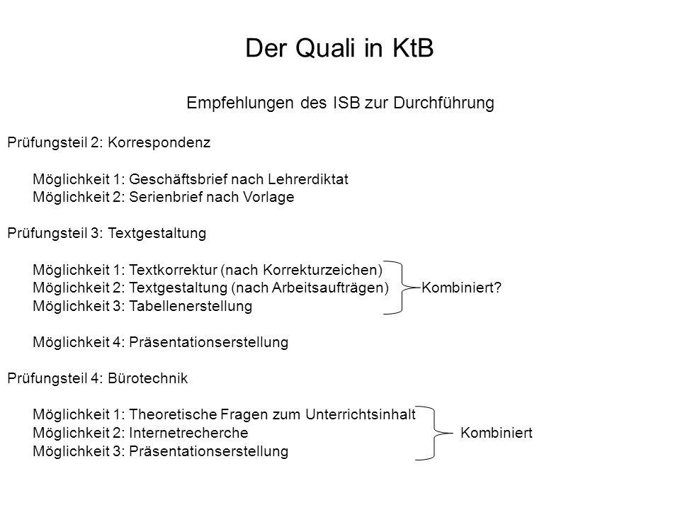 Der Quali in KtB Empfehlungen des ISB zur Durchführung Prüfungsteil 2: Korrespondenz Möglichkeit 1: Geschäftsbrief nach Lehrerdiktat Möglichkeit 2: Se
