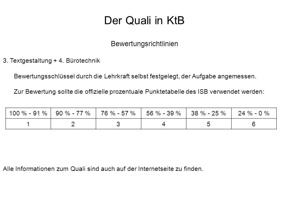 Der Quali in KtB Bewertungsrichtlinien 3. Textgestaltung + 4. Bürotechnik Bewertungsschlüssel durch die Lehrkraft selbst festgelegt, der Aufgabe angem