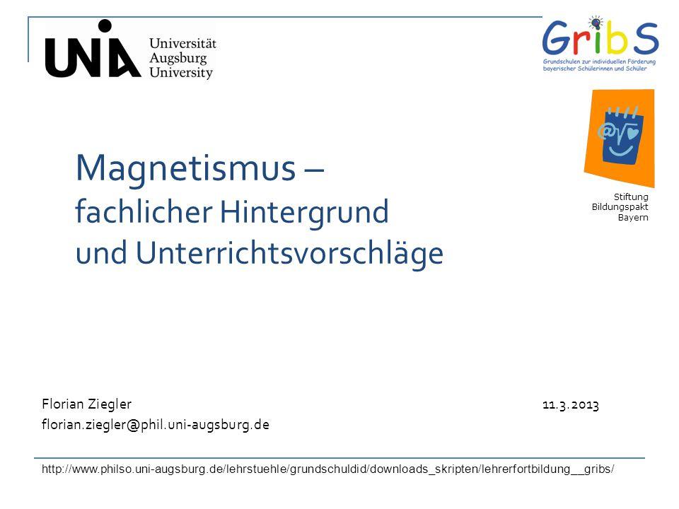 1 Magnetismus – fachlicher Hintergrund und Unterrichtsvorschläge Florian Ziegler 11.3.2013 florian.ziegler@phil.uni-augsburg.de Stiftung Bildungspakt