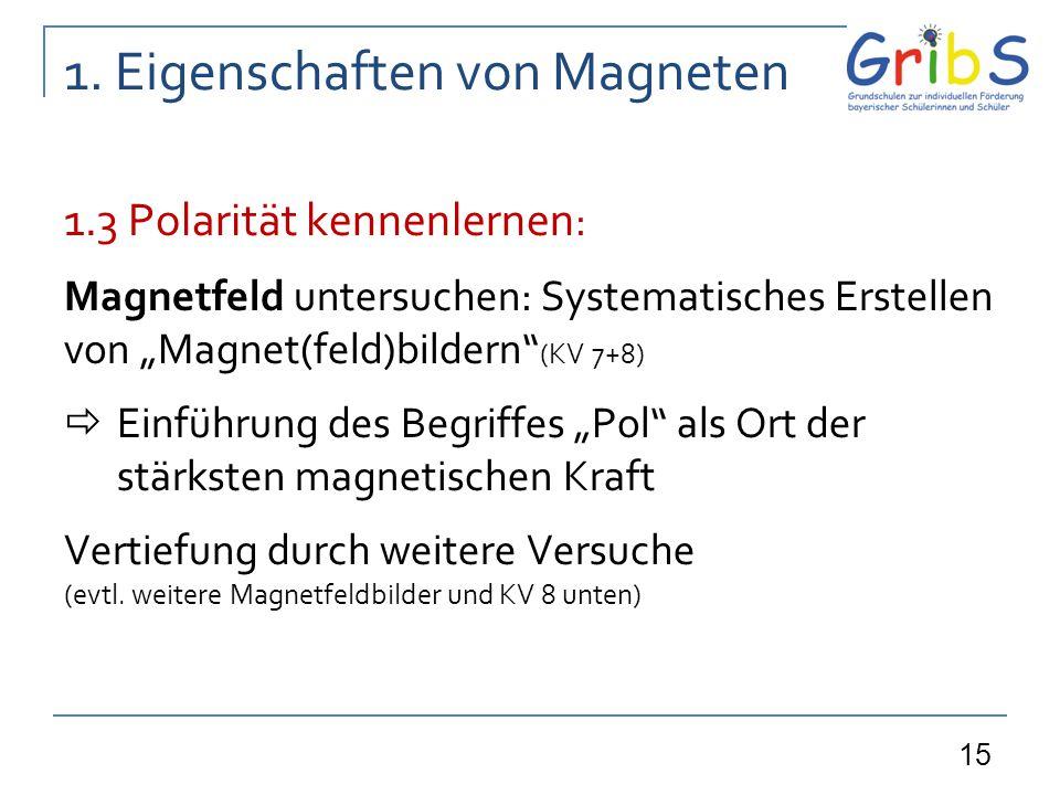 """15 1. Eigenschaften von Magneten 1.3 Polarität kennenlernen : Magnetfeld untersuchen: Systematisches Erstellen von """"Magnet(feld)bildern"""" (KV 7+8)  Ei"""