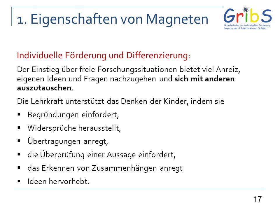 17 1. Eigenschaften von Magneten Individuelle Förderung und Differenzierung : Der Einstieg über freie Forschungssituationen bietet viel Anreiz, eigene