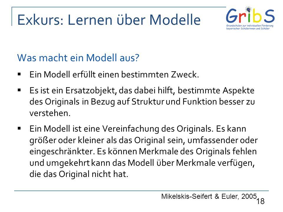 18 Exkurs: Lernen über Modelle Was macht ein Modell aus?  Ein Modell erfüllt einen bestimmten Zweck.  Es ist ein Ersatzobjekt, das dabei hilft, best