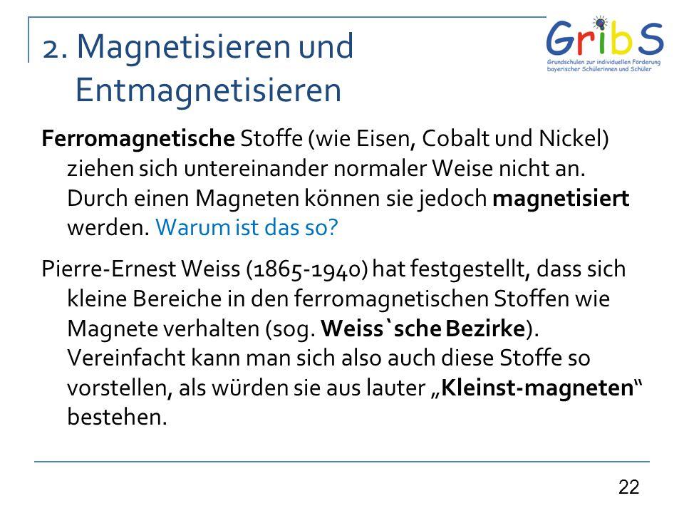 22 2. Magnetisieren und Entmagnetisieren Ferromagnetische Stoffe (wie Eisen, Cobalt und Nickel) ziehen sich untereinander normaler Weise nicht an. Dur