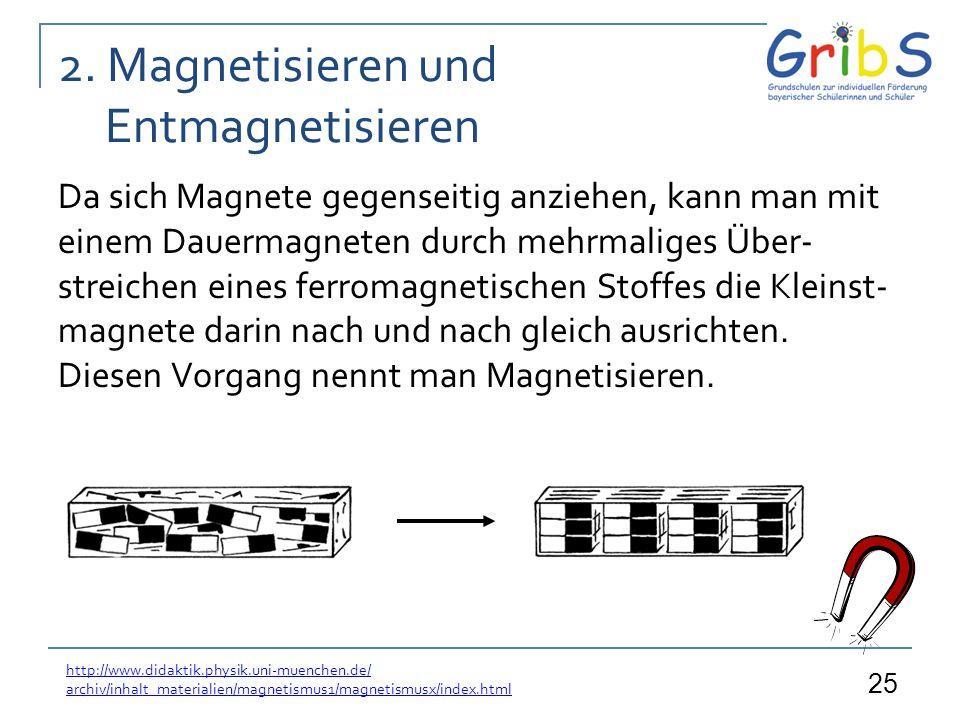 25 2. Magnetisieren und Entmagnetisieren Da sich Magnete gegenseitig anziehen, kann man mit einem Dauermagneten durch mehrmaliges Über- streichen eine